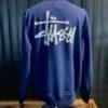 Stüssy Basic Crew Sweatshirt, Navy, Front und Backprint, Gross real wear München