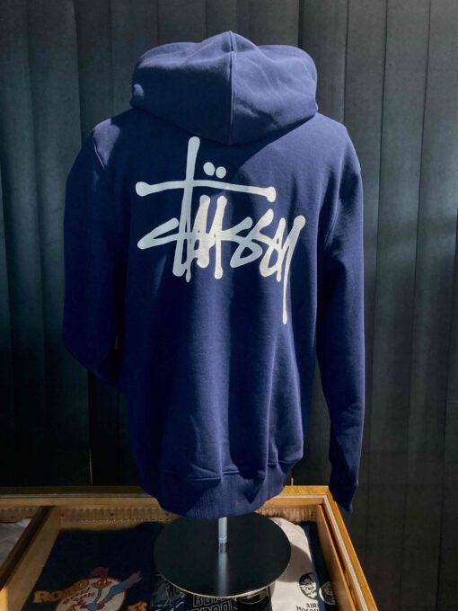 Stüssy Basic Hooded, Navy, Front und Backprint, Kaputzensweatshirt, Gross real wear München, Taschen