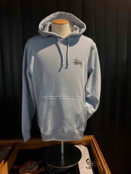 Stüssy Basic Hooded, Steel, Front und Backprint, Kaputzensweatshirt, Gross real wear München, Taschen