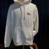 Stüssy Basic Hooded, White, Front und Backprint, Kaputzensweatshirt, Gross real wear München, Taschen