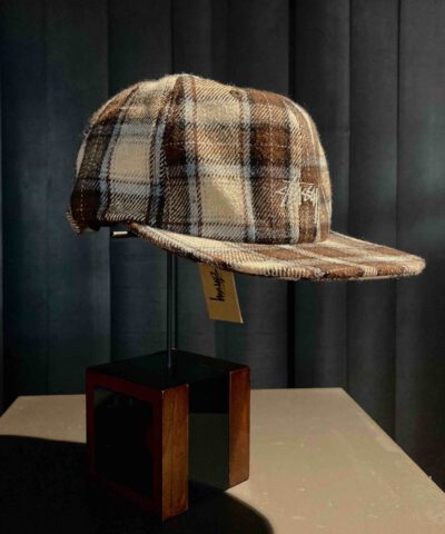 Stüssy Flannel Plaid Stock Strapback, Brown, 6 Pannel, Embroidered Stock Logo, Stickerei, Verstellbarer Metallverschluß, Gross real wear München