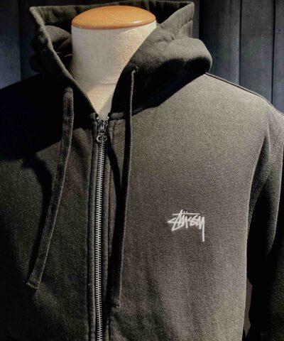 Stüssy Stock Logo Zip Hoodie, Black, Embroidered, Gross real wear München, Overdyed Sweatshirt, Zipper