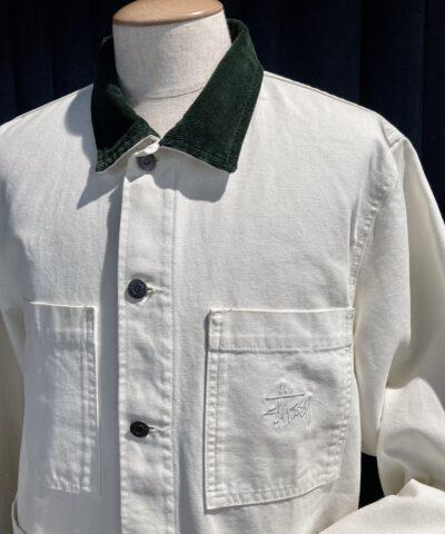 Stüssy Cord Collar Canvas Core Jacket, Bone, Gross real wear München, Taschen, Stüssy Logo Stickerei, Grüner Cordkragen