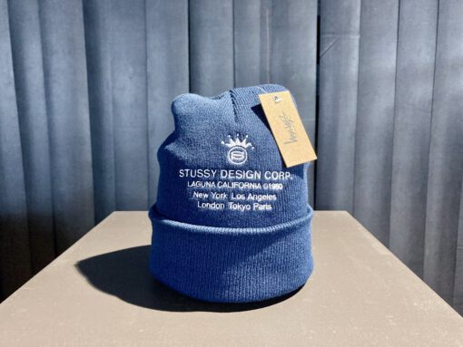 Stüssy Design Corp Cuff Beanie, Navy, Strickmütze, Front Stickerei mit Stüssy Logo, Gross real wear München