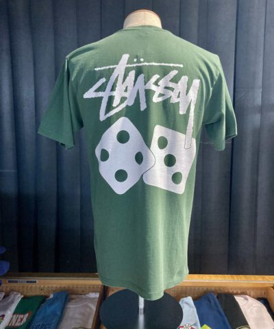 Stüssy Dice Pigment Dyed T-Shirt, Pine, Front und Backprint, Würfel, Gross real wear München