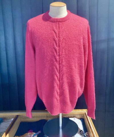 Stüssy Double Cable Sweater, Pink, Strickpullover, Zopfmuster, Gross real wear München