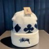 Stüssy Full Suit Jaquard Cuff Beanie, White, Gross real wear München, Stüssy Logo Stickerei, Embroidered