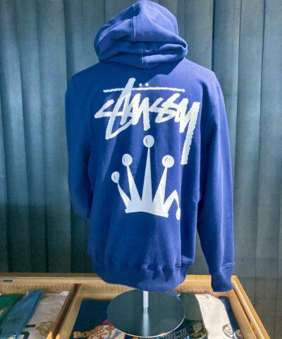 Stüssy Stock Crown Hood, Navy, Kaputzensweatshirt, Gross real wear München, Front und Backprint, Stüssy Krone, Tasche