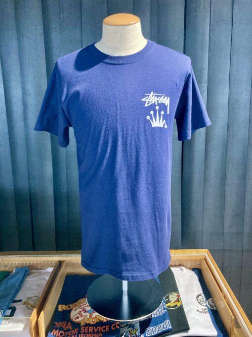 Stüssy Stock Crown T-Shirt, Navy, Front und Backprint, Stüssy Krone, Gross real wear München