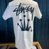 Stüssy Stock Crown T-Shirt, White, Front und Backprint, Stüssy Krone, Gross real wear München