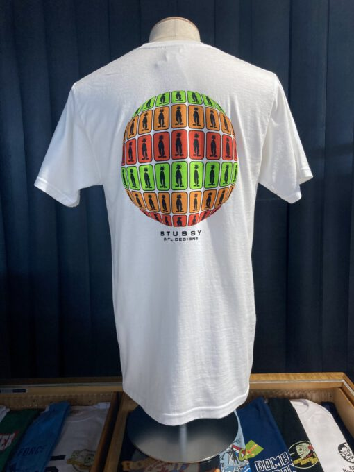 Stüssy Stratosphere T-Shirt, White, Cotton, Gross real wear München, Front und Backprint