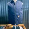 Carhartt WIP Dearborn Vest, Organic Cotton Canvas Weste, Strickbund, Dark Navy, Rigid, Reißverschluss, Steppfutter, Innentasche, Taschen, Carharttt WIP Logo, Gross real wear München