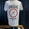 Lightning Bolt One on One T-Shirt, White, Front Logo Print, Flash, Gross real wear München, kurzarm