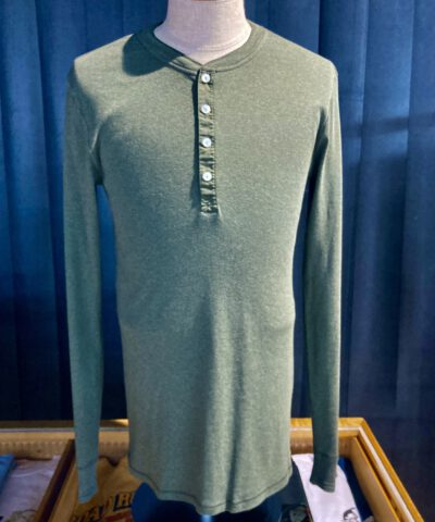 Schiesser Revival Karl-Heinz Henley Langarm Shirt, Khaki Melange, Knopfleisten Shirt, Back Logo, Gross real wear München
