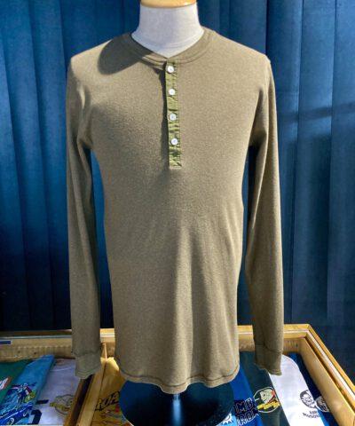 Schiesser Revival Karl-Heinz Henley Langarm Shirt, Whiskey Melange, Knopfleisten Shirt, Back Logo, Gross real wear München